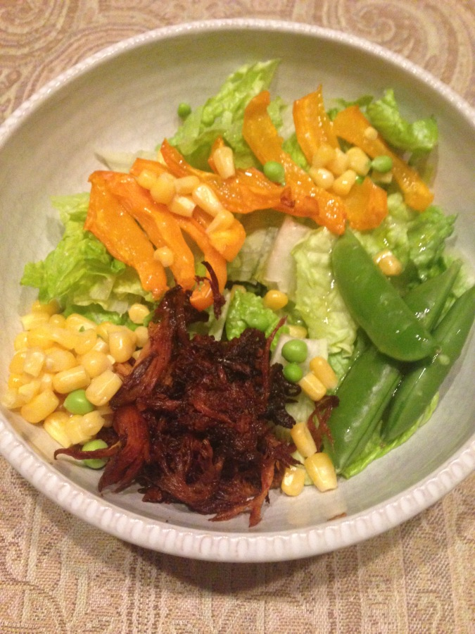 Salad with BBQ and vibrant veggies