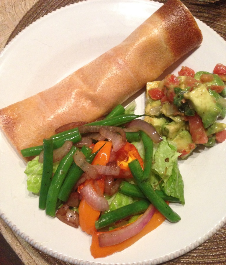 Roll-up, guacamole, mixed veggies