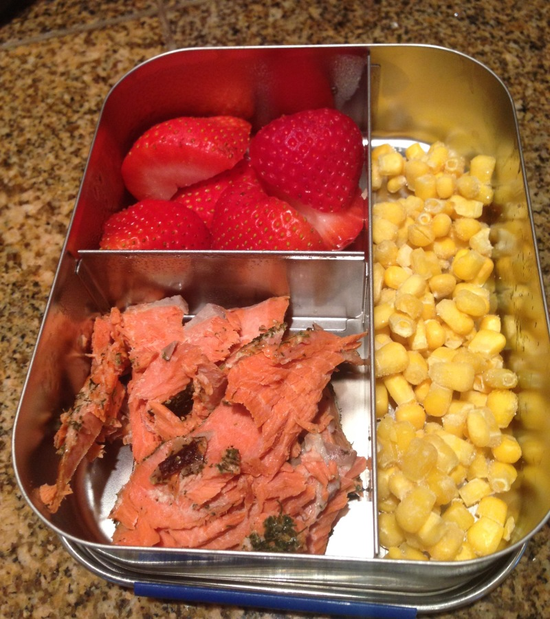 Salmon, strawberries, corn