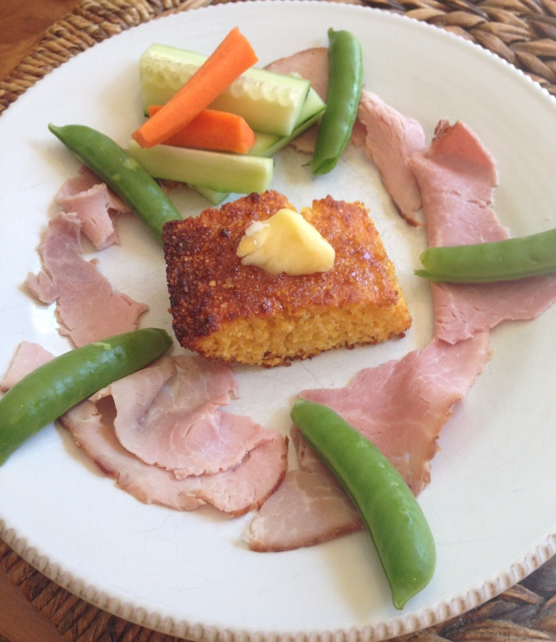 Cornbread, colorful veggies, deli ham