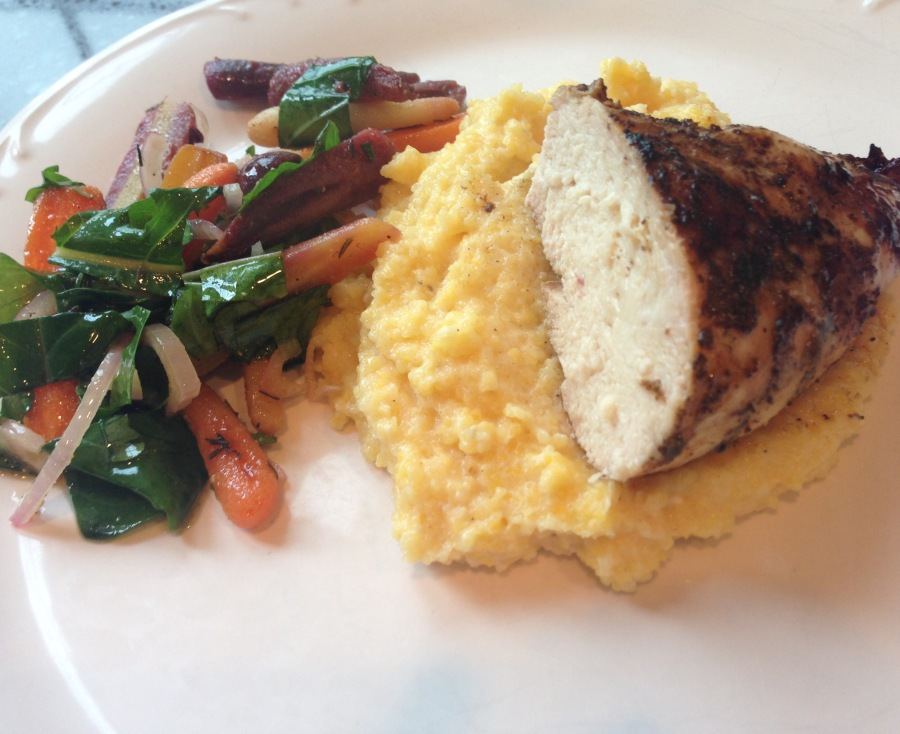 Grilled Chicken, Polenta, Colorful Veggie Mix